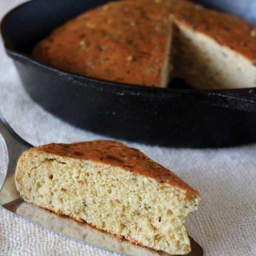 Speedy Pesto-Garlic Skillet Bread