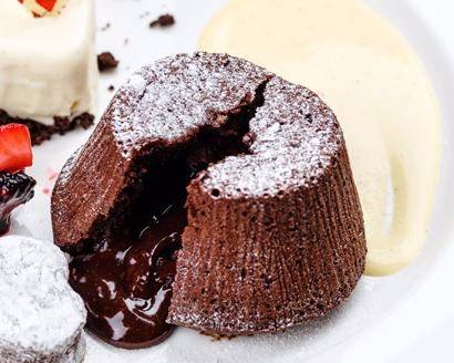 "Mini ""Blackout"" Cakes with Crème Anglaise"
