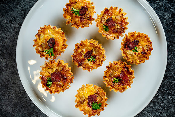Mini Pear, Bacon and Blue Cheese Quiches