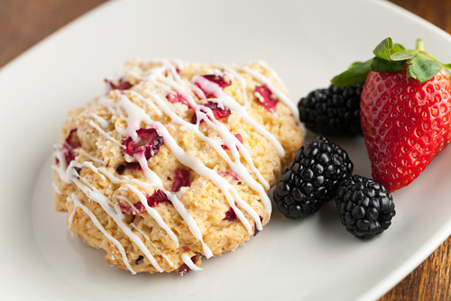 Cranberry Scones with Vanilla Drizzled Glaze