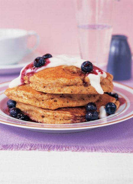 Buttermilk Wheat Germ Pancakes with Yogurt and Berry Sauce