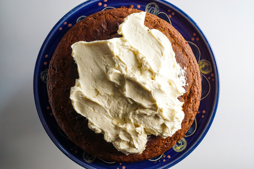 Applesauce Snack Cake with Brown Sugar Buttercream Frosting