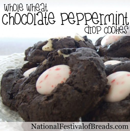 Whole Wheat Chocolate Peppermint Drop Cookies